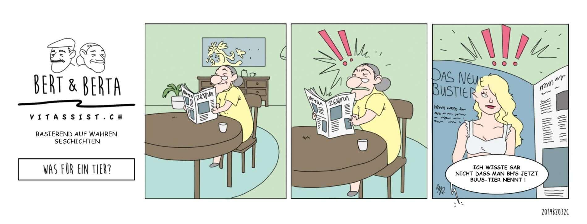 """Berta liest im Wohnzimmer interessiert die aktuelle Zeitung, bis ihr ein Inserat mit der Überschrift """"Das neue Bustier"""" ins Auge springt: """"Ich wusste gar nicht, dass man BH's jetzt auch Buus-Tier nennt!"""""""